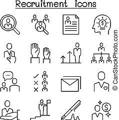 Job, Recruitment, interview, staff, employee icon set in thin line style