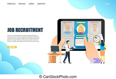 Job recruitment vector website landing page design template