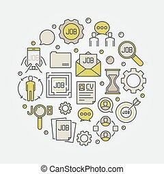 Job round colorful illustration