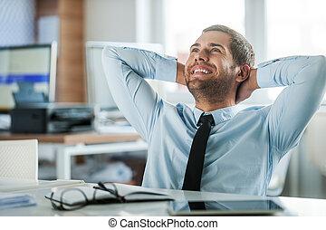 Job satisfaction. Cheerful businessman in formalwear holding...