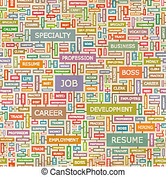 JOB. Seamless pattern. Concept related words in tag cloud. ...
