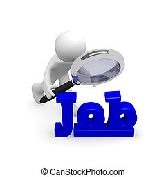 Job search - 3d man with a magnifying glass searching a new...