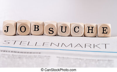 Job search - daily newspaper with the german word job market...