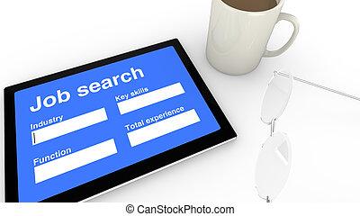 Job search entry screen