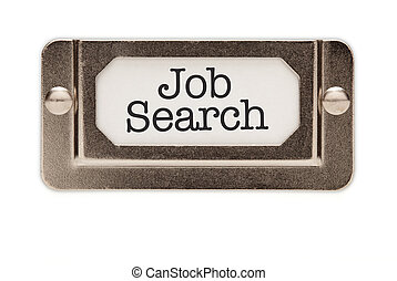 Job Search File Drawer Label Isolated on a White Background.