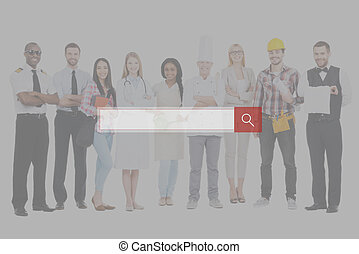 Job search. Group of diverse people in different occupations standing close to each other and against white background and smiling