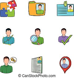Job search icons set, cartoon style