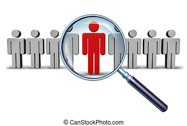 Job search and career choice employment concept with human icons and a red businessman character in a magnifying glass as a symbol of recruitment and occupation discovery.