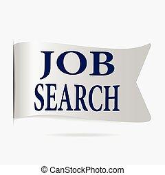 Job search label, silver ribbon badge
