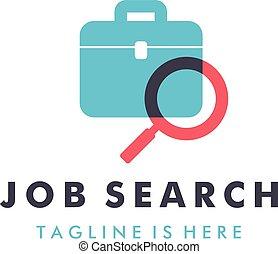 job search logo design vector template