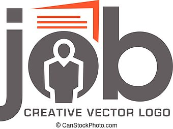 Job search logo for application. Job interview and hunting career and resume job seeker vector illustration