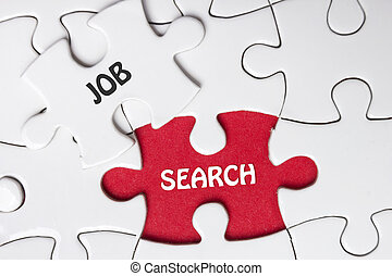 JOB search. Missing Piece Jigsaw Puzzle with word