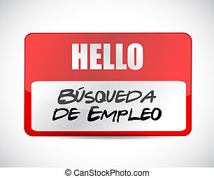 job search name tag sign in Spanish
