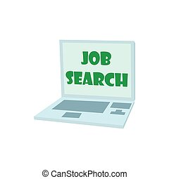 Job search on laptop icon, cartoon style