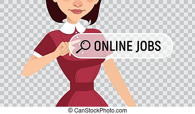 JOB SEARCH. Online recruitment service. Woman looking for work. Illustration on transparent background.