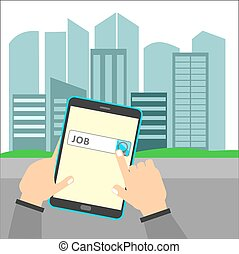 Job Search Opportunity in a City. Hand holding tablet...