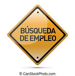 job search orange street sign in Spanish
