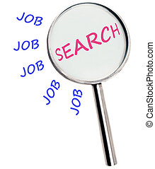 Job search text magnified on white