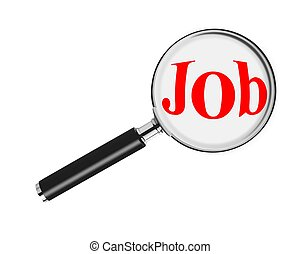 Job search with magnifying glass