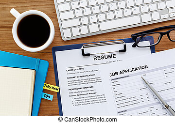 Job search background. Job search with resume and job application on ...