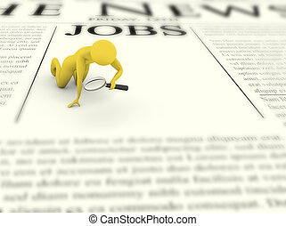Job searching man with magnifier