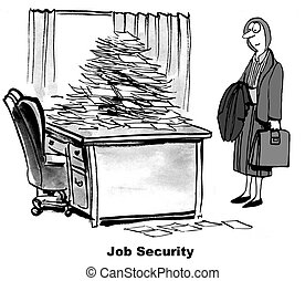 Job Security - Business cartoon about a woman looking at a...
