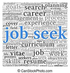 Job seek concept in word tag cloud