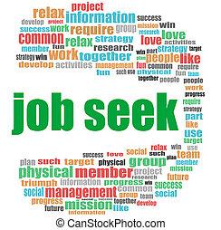 job seek words. Business concept . Word cloud collage