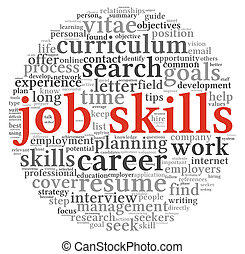 Job skills in word tag cloud