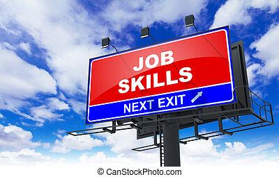 Job Skills Inscription on Red Billboard.