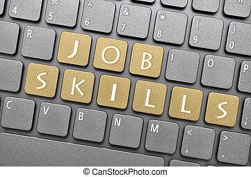 Job skills on keyboard