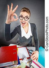 Cheerful office lady at desk. - Job success celebration ...