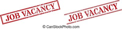 JOB VACANCY Grunge Scratched Stamp Watermarks with Double Rectangle Frame
