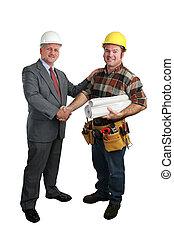 Job Well Done - an architect congratulating a construction ...