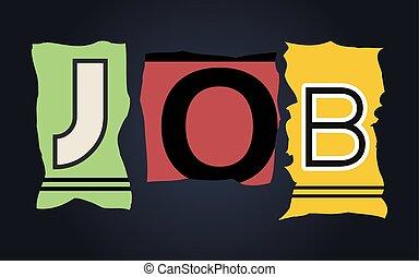 Job word on broken car license plates, vector