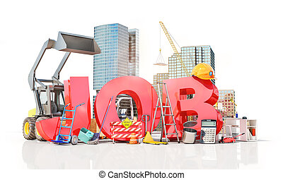 Job word with work tools. 3d illustration
