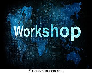 Job, work concept: pixelated words Workshop on digital screen