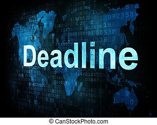 Job, work concept: pixelated words Deadline on digital screen