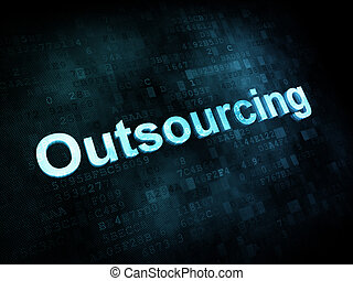 Job, work concept: pixelated words Outsourcing on digital...