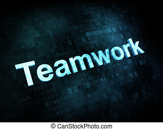 Job, work concept: pixelated words Teamwork on digital screen