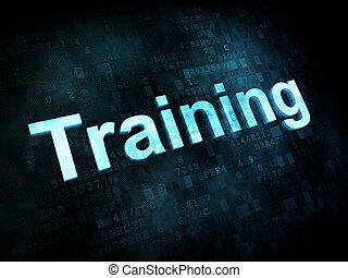 Job, work concept: pixelated words Training on digital screen