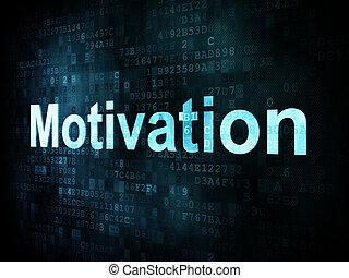 Job, work concept: pixelated words Motivation on digital screen