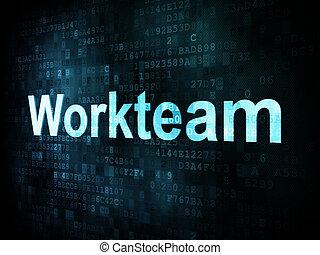 Job, work concept: pixelated words Workteam on digital screen