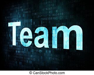 Job, work concept: pixelated words Team on digital screen