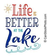 jobb, élet, tó
