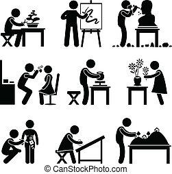 jobb, arbete, konst, artistisk, ockupation
