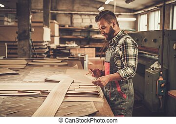 jobb, hans, snickare, workshop., carpentry
