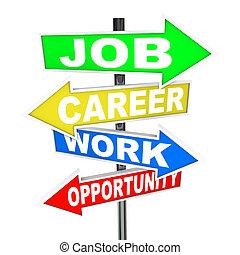 jobb, karriär, arbete, tillfälle, ord, väg signerar