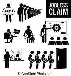Illustrations showing jobless claim by the people. These jobless people are queuing for jobless claim, writing a jobless claim, receiving training, submitting claims, and waiting for interview.