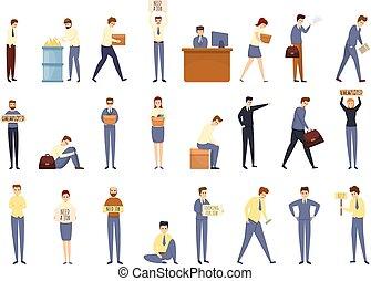 Jobless icons set, cartoon style